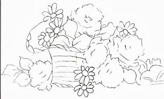 desenho de cesta de rosas para pintar