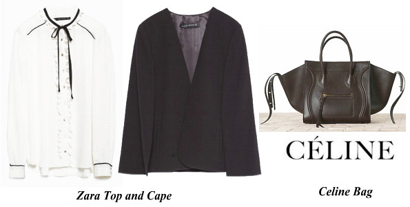 Princess Madeleine's Zara Top, Cape and CELINE Croc Embossed Phantom Bag