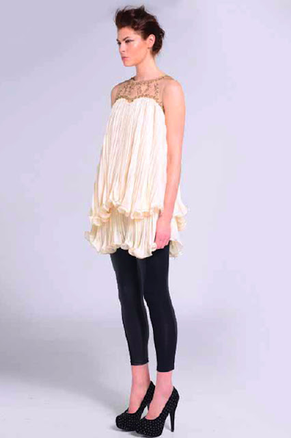 Naomi Tsukishima Cream Floaty Ruffle Party Dress