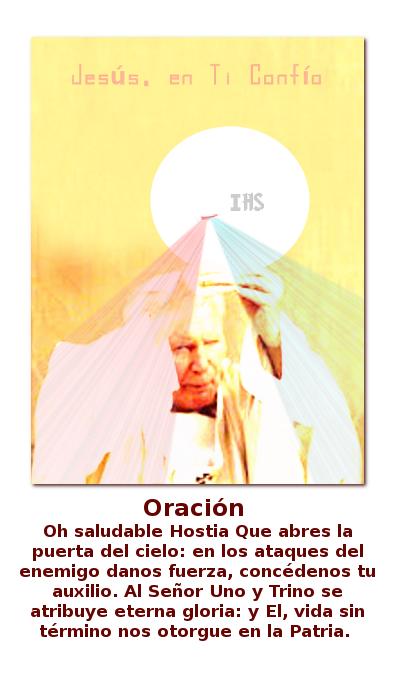 papa juan pablo segundo con el cuerpo la sangre el alma y la divinidad de jesus en las manos