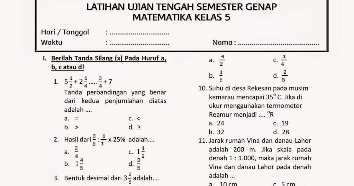 Download Soal UTS 2 Matematika Kelas 5 ~ Rief Awa Blog : Download Kumpulan Soal Ujian SD Terbaru