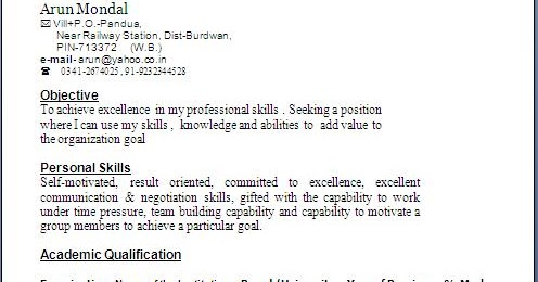 typical resume format