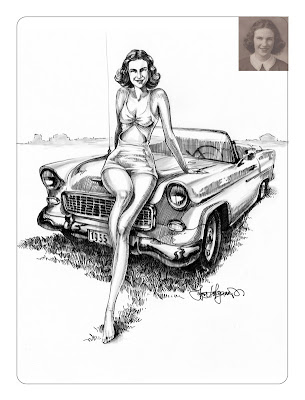 Chevrolet Bel Air drawing and woman portrait