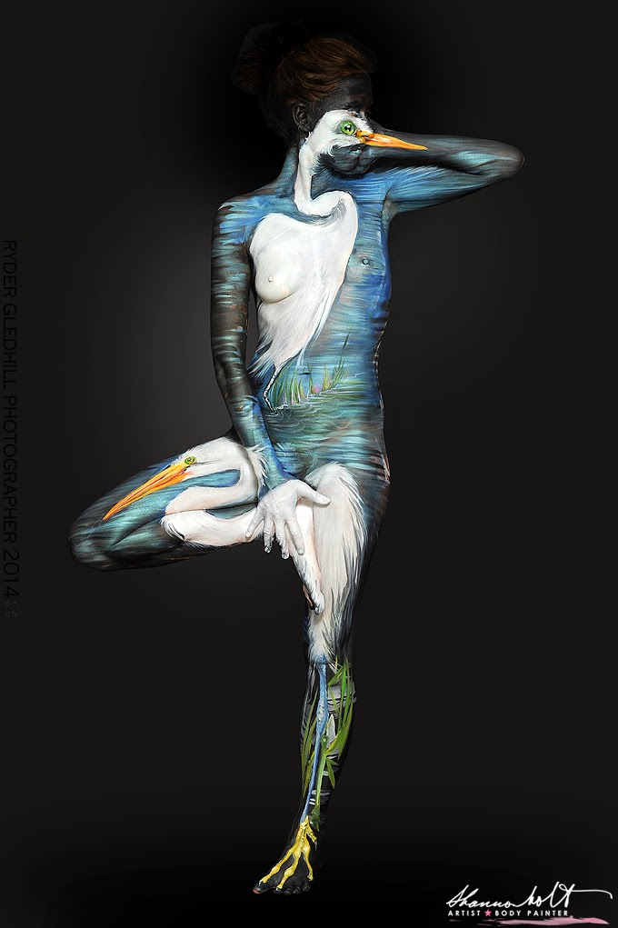 08-Snowy-Egrets-Shannon-Holt-Florida-Wildlife-Series-Bodypainting-www-designstack-co
