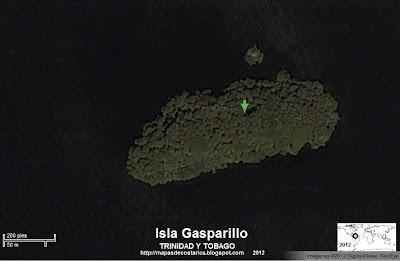 Foto de satelite de la Isla Gasparillo  (Isla de Trinidad y Tobago)