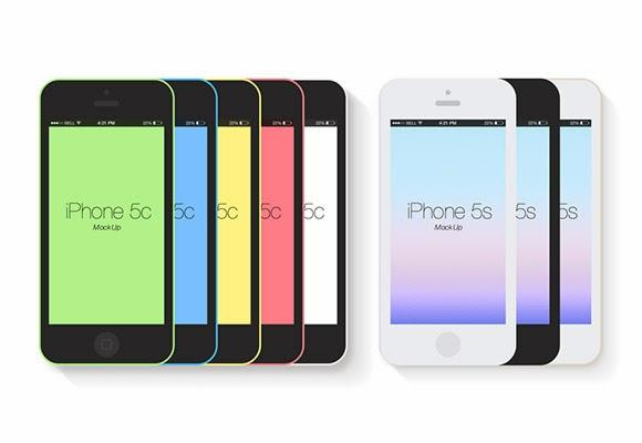Flat iPhone 5c Mockups