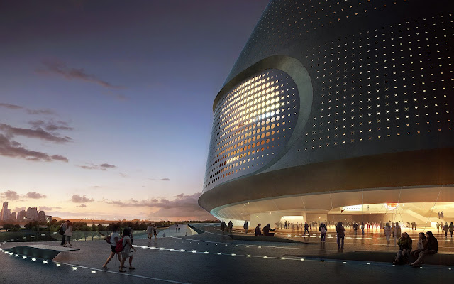 Photo of proposed museum entrance at sunset with people walking around