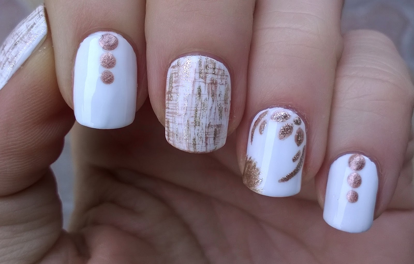Gold White Fl Dry Brush Nail Art Design