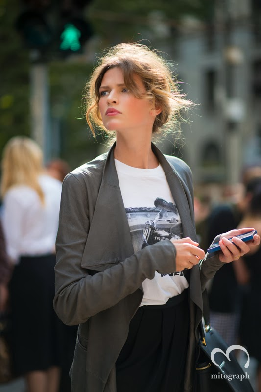 Model Bette Franke is looking for her car after Dolce and Gabbana show at Milan Fashion Week