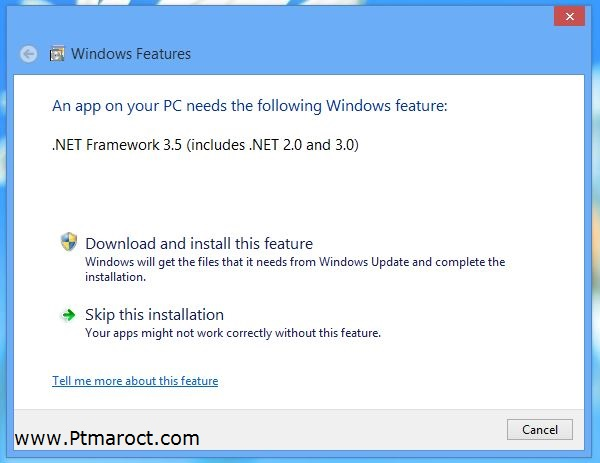 Install Dot Net Framework on Windows 8