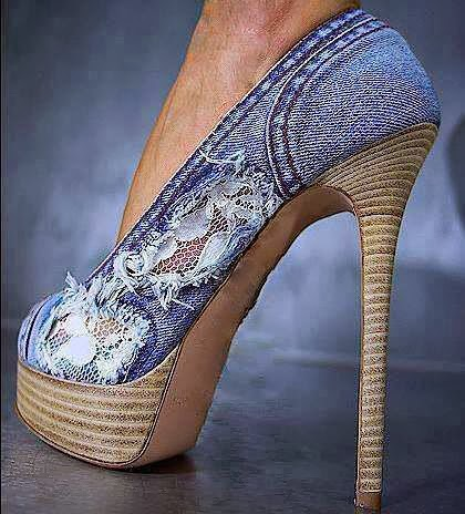 Jean heeled shoes