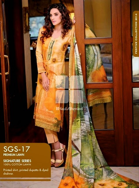 Gul Ahmed Signature Series Lawn Collection 2014
