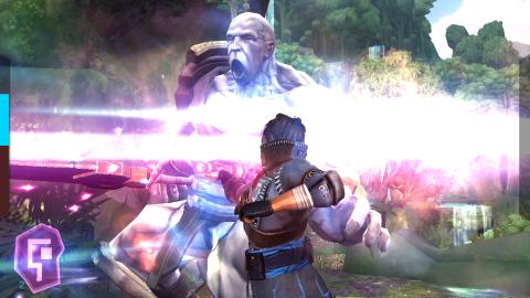 Golpe final jugando al juego Storm Blades.