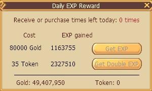 Serenia Fantasy Online Exp Reward