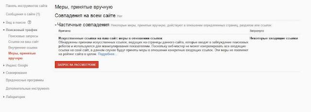 Сообщение о ручных санкциях Googel