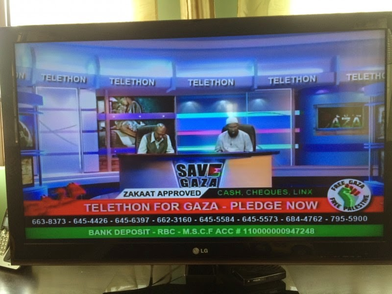 Screenshot Of IBN TV8 Telethon for Gaza on 27 July, 2014. Photo by Jason Nathu  with permission.