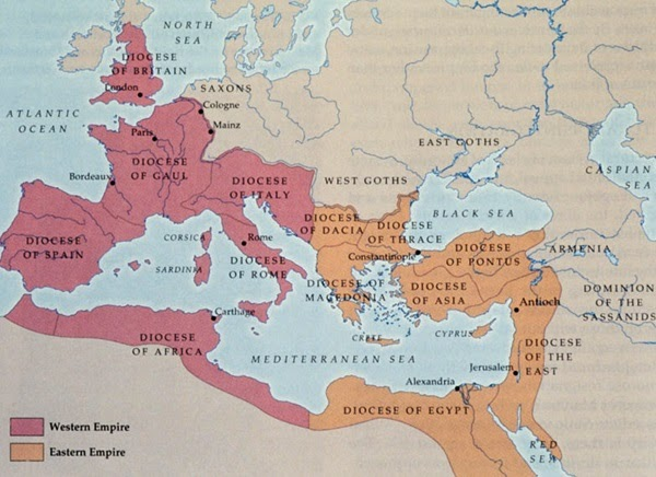 Eastern Roman Empire and Western Roman Empire