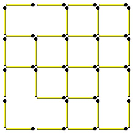 Matchstick puzzles 55 square 4x4 how many squares