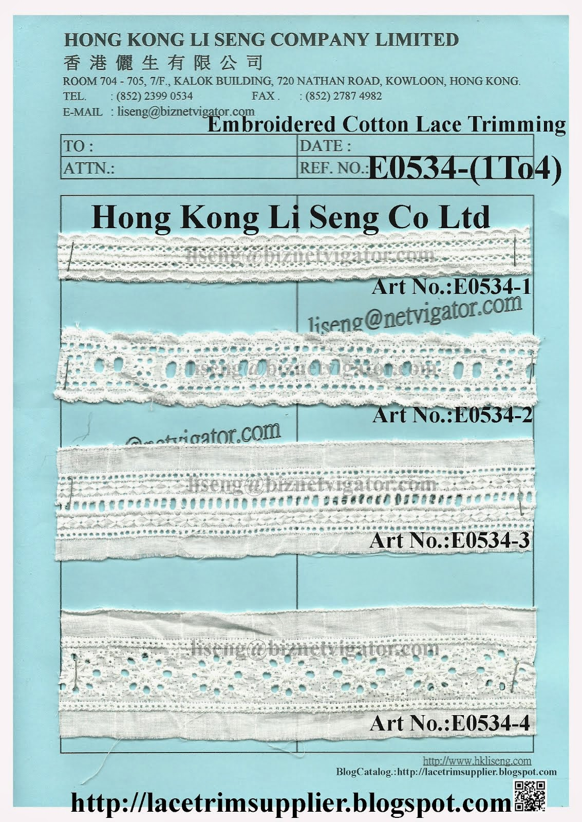Embroidered Cotton Lace Trimming Factory and Supplier - Hong Kong Li Seng Co Ltd