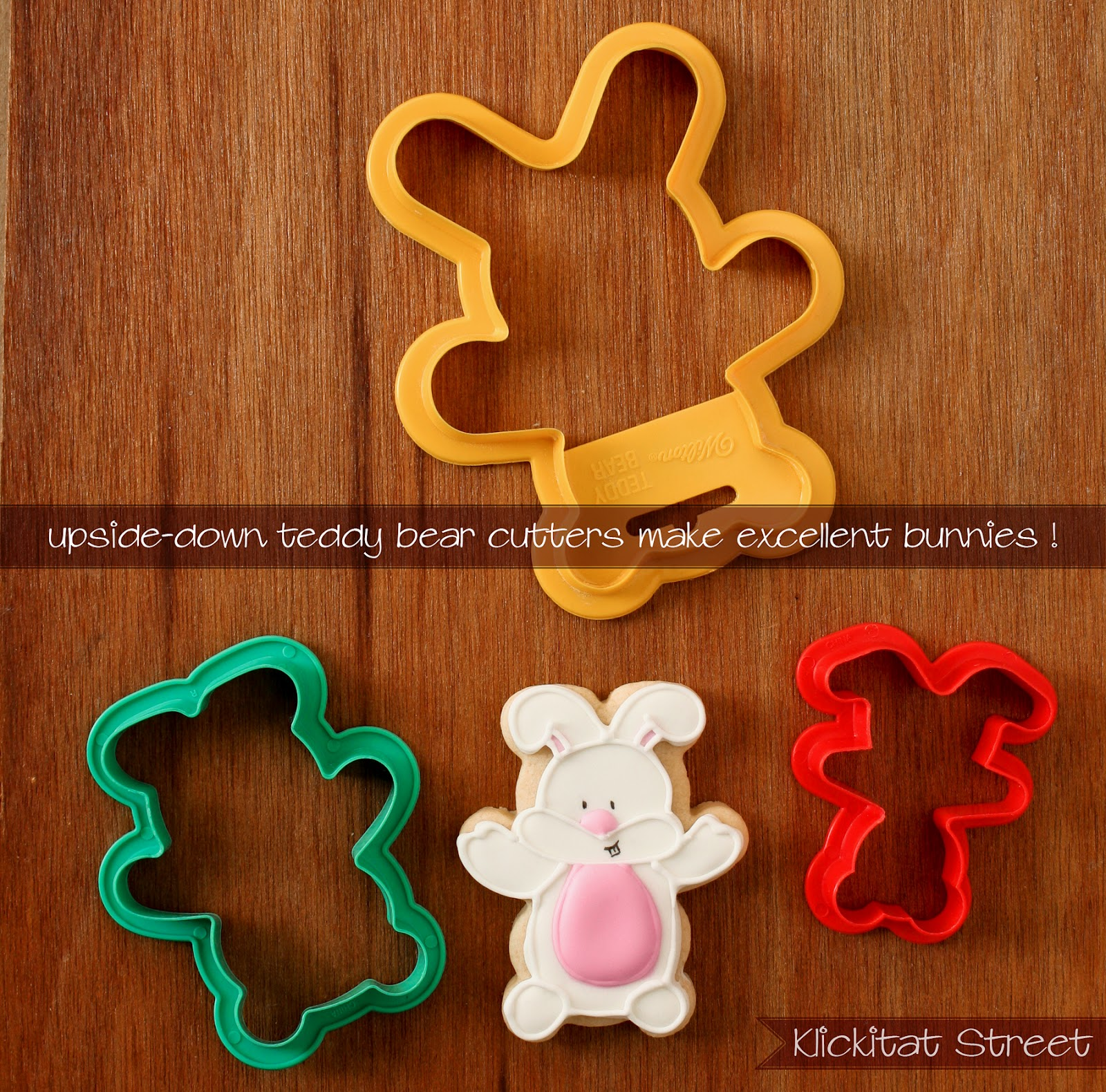 Easter bunny rabbit cookies made from teddy bear cookie cutters