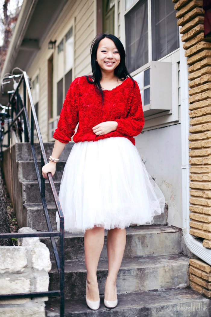 american apparel 3-D 3D floral mesh jumper top, shabby apple tutu tulle skirt, casadei nude pumps, austin fashion blog, austin street style, texas fashion blog, diya liu