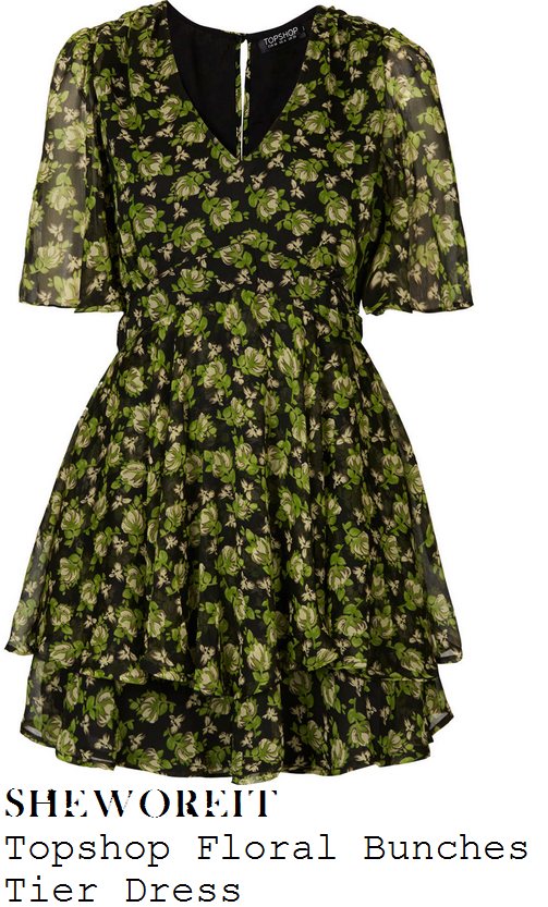 katie-piper-green-pink-and-black-floral-flower-bunch-print-v-neck-tiered-hem-chiffon-dress-this-morning