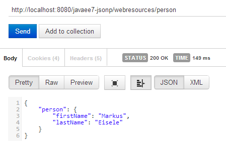turning this the other way round would mean to read incoming json this could look like the following