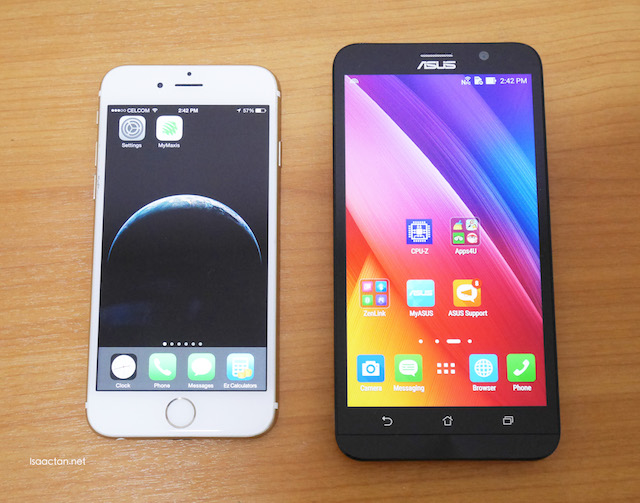 Side by side comparison with my iPhone 6