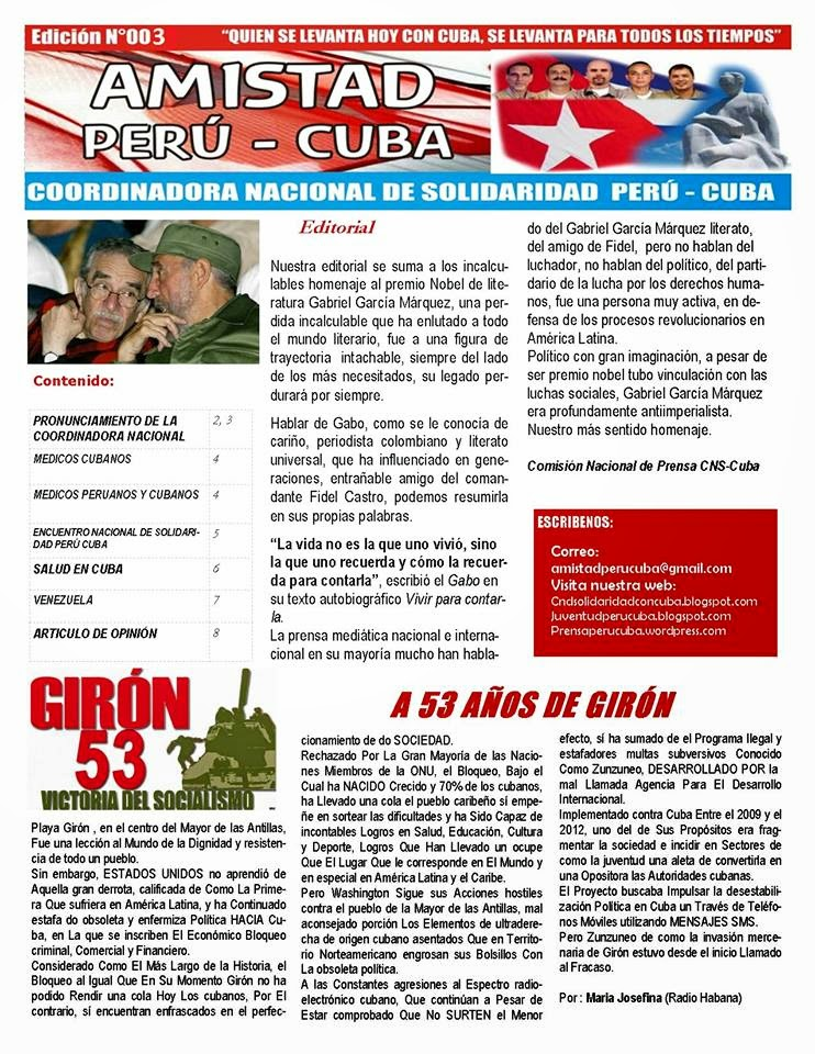 "BOLETÍN N°003 ""AMISTAD PERÚ CUBA"""