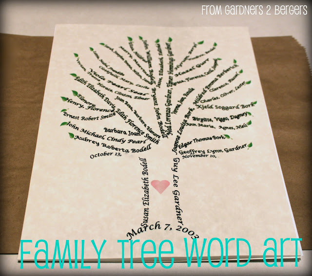 from gardners 2 bergers family tree word art tutorial