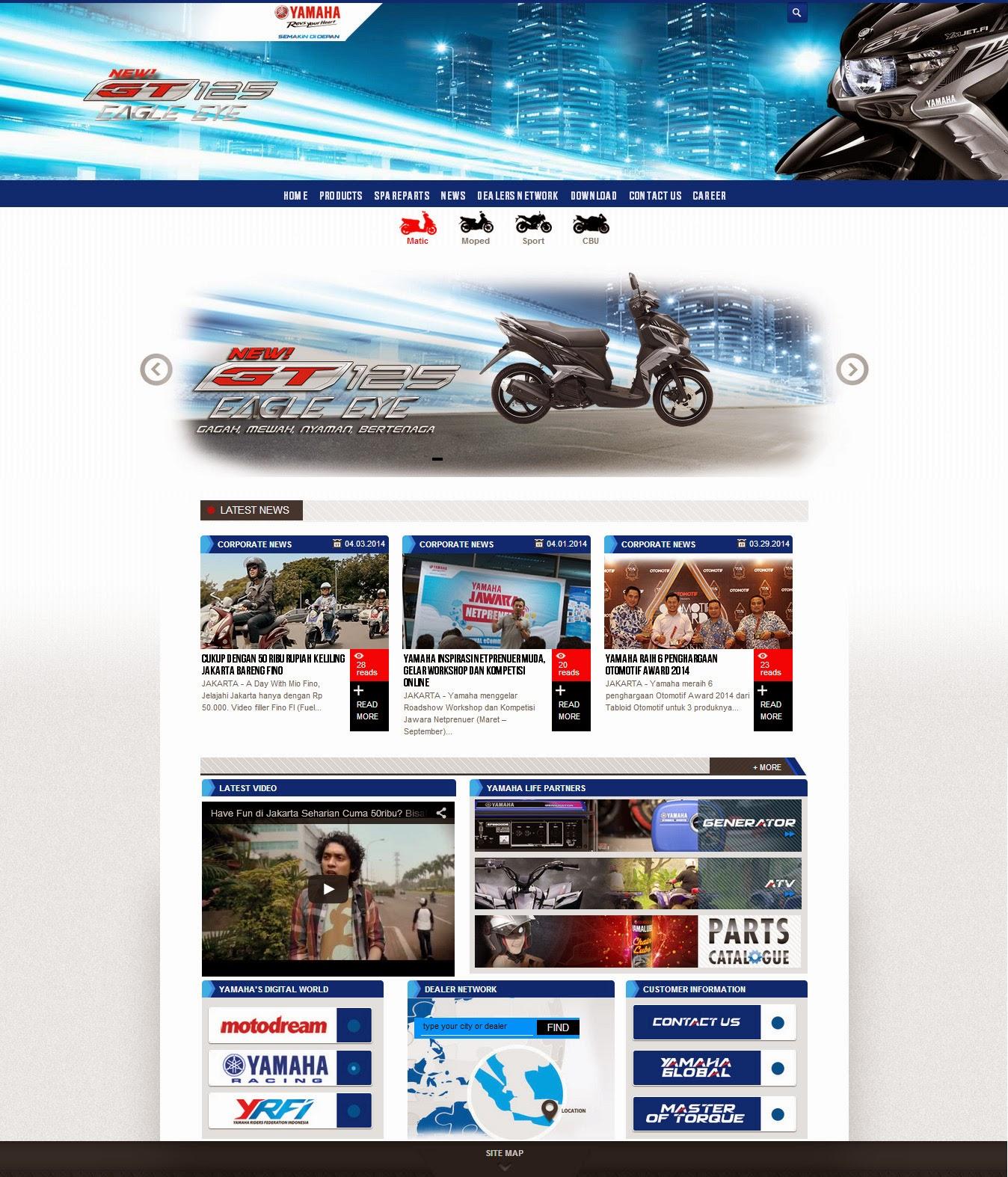 tampilan baru website resmi yamaha indonesia oprek motor
