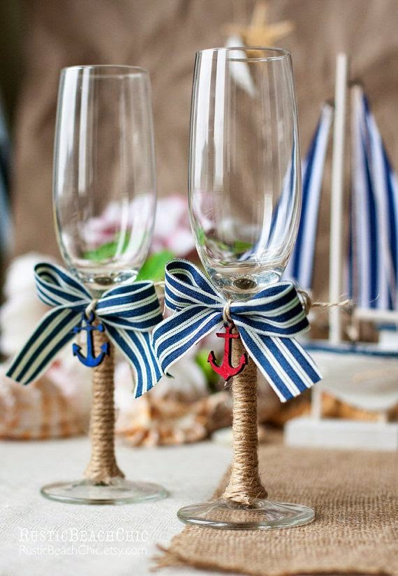 nautical champagne flutes