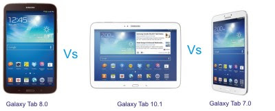 Samsung Galaxy Tab 3 Android Tablet PCs comparison
