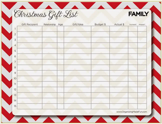 Confessions of a Holiday Junkie!: Christmas in July Day 5: Gift List?