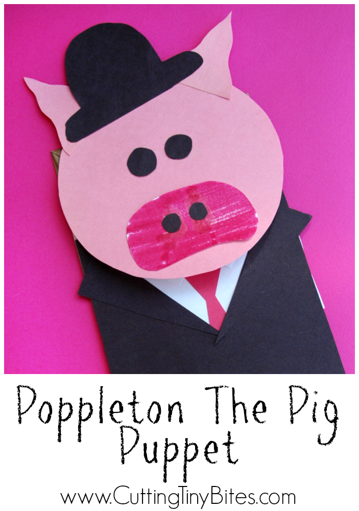 Poppleton the Pig Puppet. Paper bag puppet craft for kids to use with the Cynthia Rylant series Poppleton.