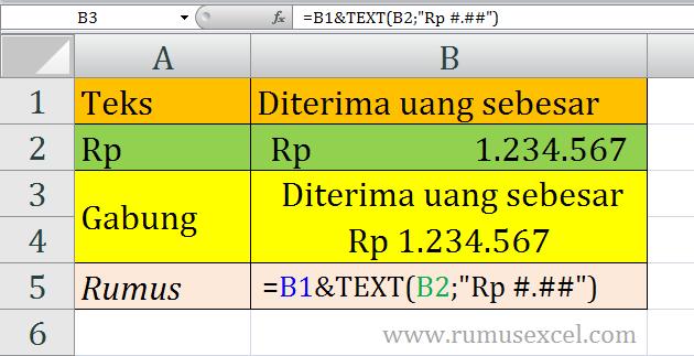 menggabungkan teks dan format currency