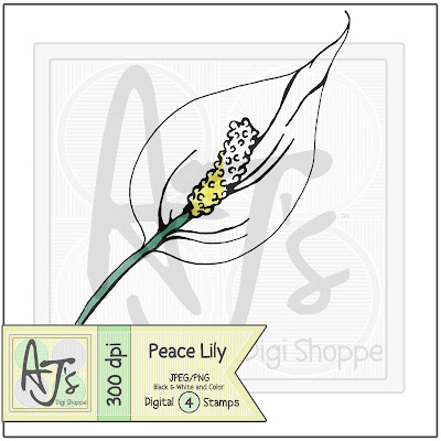 Peace Lily, Digital Stamp, Flower