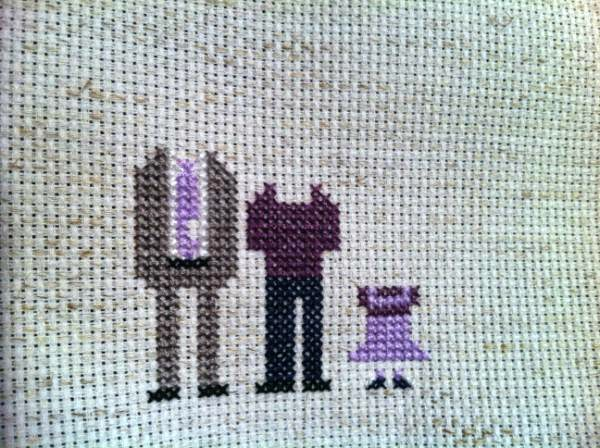 Mini Us, A Cross-Stitch Pixelated Family Portrait (in progress) | The Inspired Wren