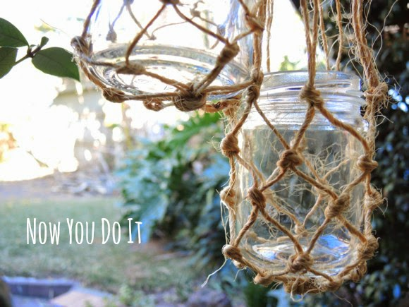katiecrackernuts.blogspot.com || now you do it macrame hanging candle hanger