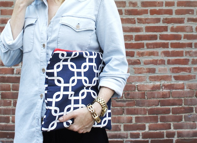 Chambray shirt and fold over clutch