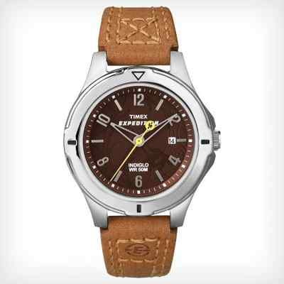 Timex Women's Expedition Brown Leather Watch, 50 Meter, Date, Indiglo, T49856