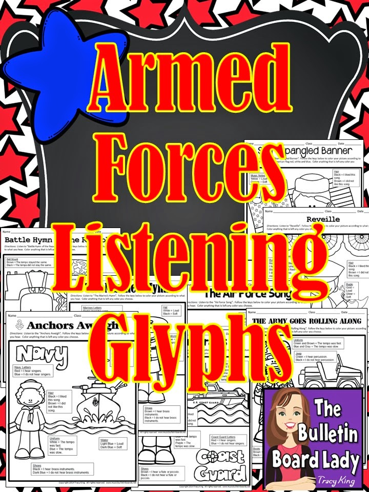 http://www.teacherspayteachers.com/Product/Armed-Forces-Listening-Glyphs-1503267