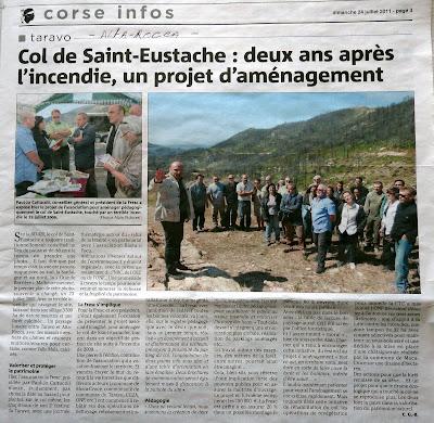 article sur le projet d'aménagement du col de Saint Eustache et de la protection de la commune de Moca-Croce