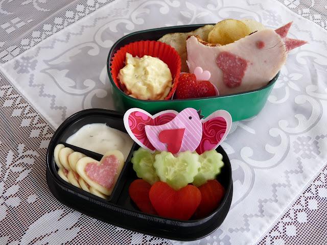 lovebird heart bento lunch