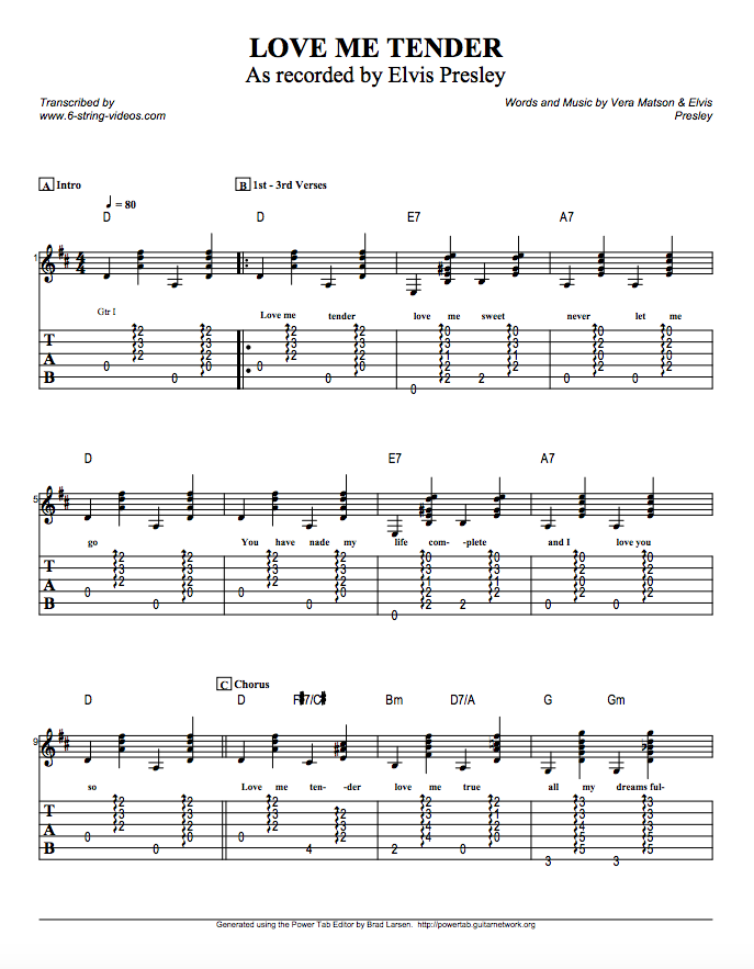 Guitar Tabs Tabs And Song Sheets For Love Me Tender By Elvis Presley