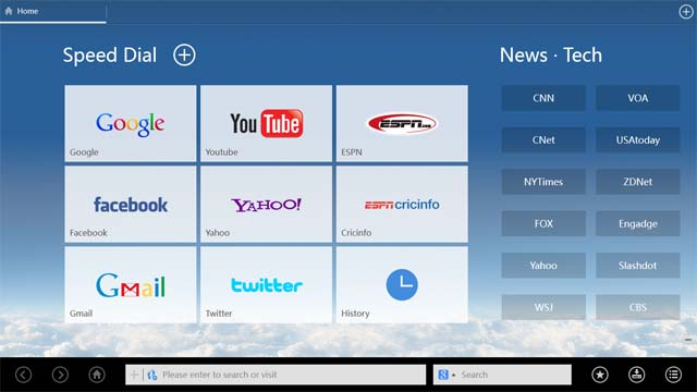 UC Web browser for Windows 8