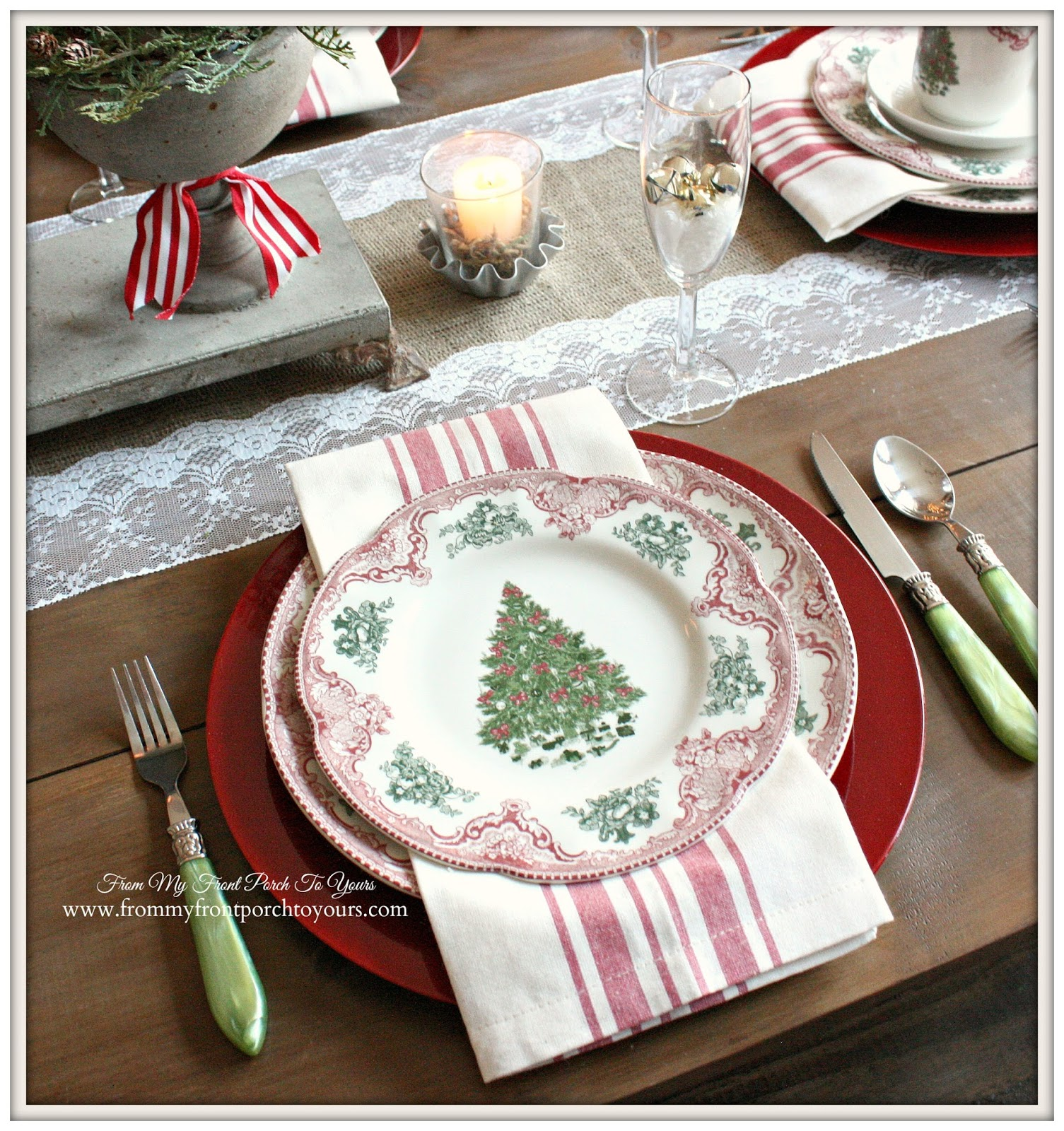 Old British Castles Pink-French Farmhouse Vintage Christmas Dining Room- From & From My Front Porch To Yours: French Farmhouse Vintage Christmas ...