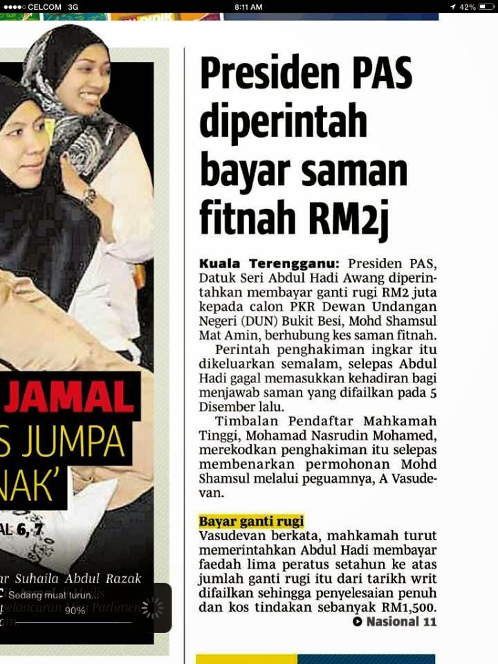 Tuan Guru Haji Hadi Diperintah Bayar RM2 Juta Atas Saman Fitnah