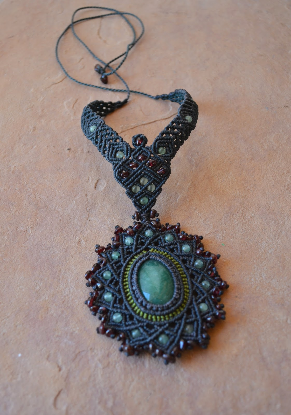 Micromacrame Necklace Aventurine Stone
