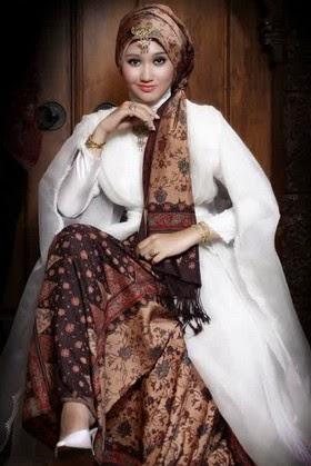 Desain Contoh Gambar Model Baju Muslim Batik Kombinasi